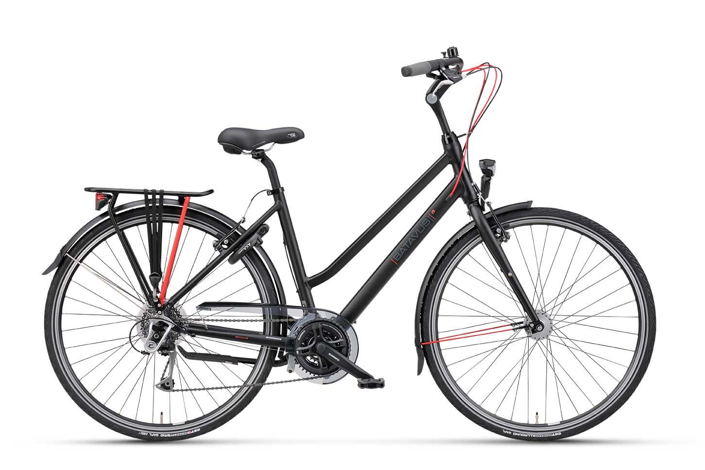hybride fiets, fiets met versnellingen, Batavus Boulevard, een fiets met 24 versnellingen, dames