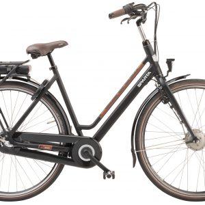 Elektrische fiets, Sparta Regular, gezien van de zijkant in de kleur zwart