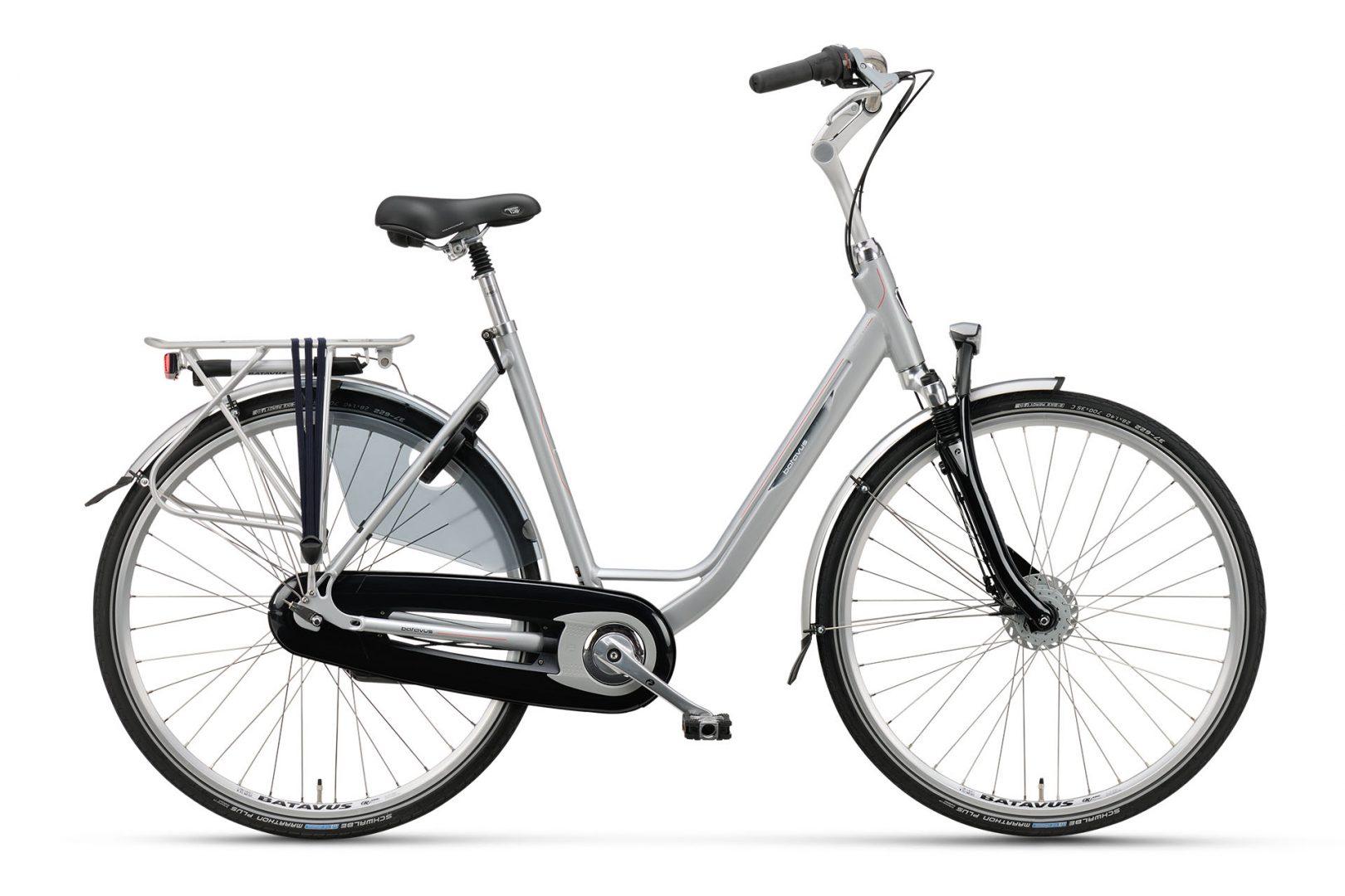 Luxe fiets met versnellingen, Batavus Holiday luxe, fiets met versnellingen en vering in de voorvork, dames model