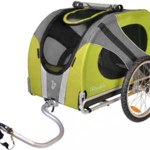 Hondenkar voor achter de fiets in de kleur groen en grijs