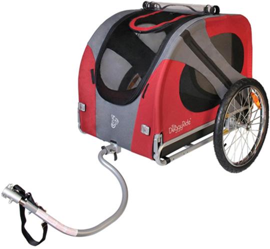 Hondenkar voor achter de fiets in de kleur rood en grijs