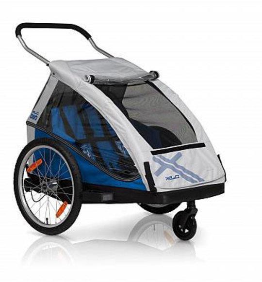 Kidcar Duo voor twee kleine kinderen in de kleur blauw met grijs