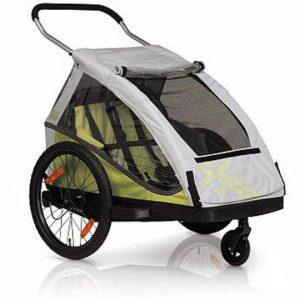 Kidcar Duo voor twee kleine kinderen in de kleur groen met grijs