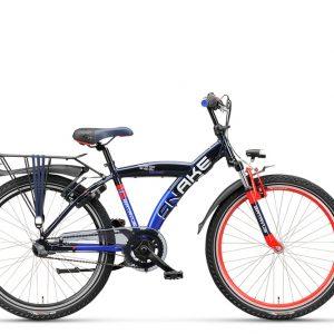 Stoere jongens fiets, Batavus Snake, kinderfiets met versnellingen in de kleur zwart met rood