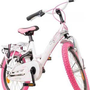 Meisjesfiets, kinderfiets, Loekie Superstar, wit met roze vanaf de voorzijde