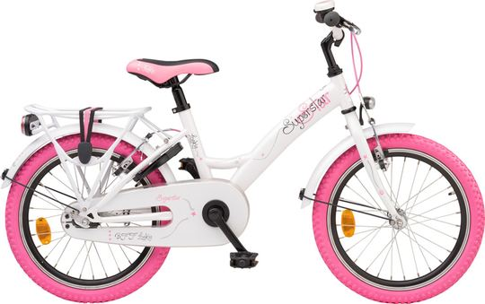 Meisjesfiets, Loekie Superstar in de maat 18 inch, wit met roze