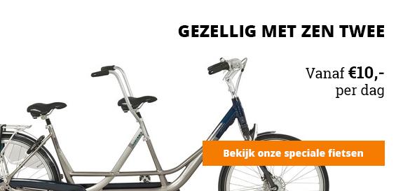 Tandem, gezellig met zen twee, huur al een tandem vanaf tien euro per dag, bekijk onze speciale fietsen