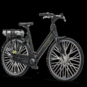 De Batavus Fonk E-go, een sportieve elektrische fiets in de kleur mat zwart.
