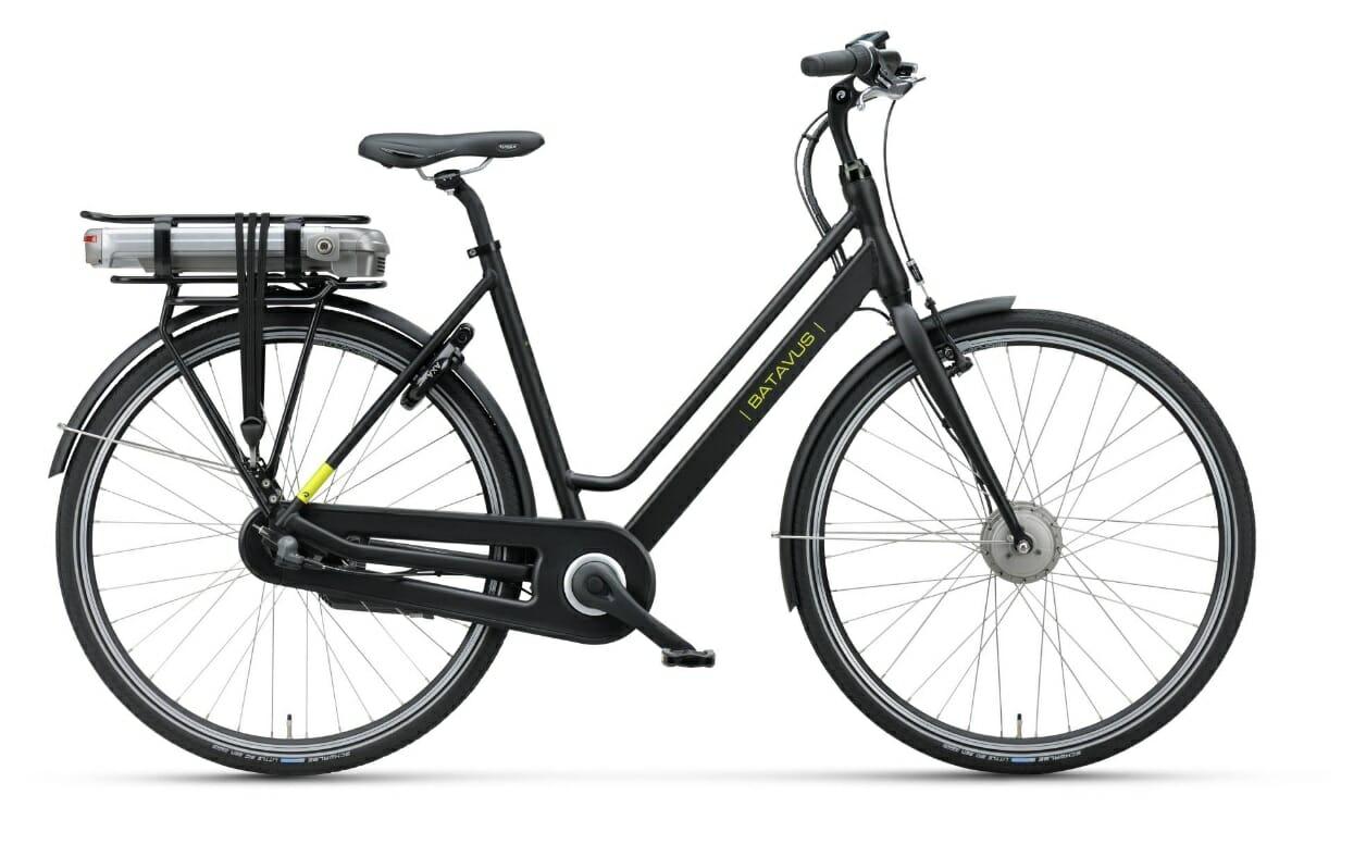 Batavus Fonk E-go, een sportieve elektrische fiets in de kleur matzwart.